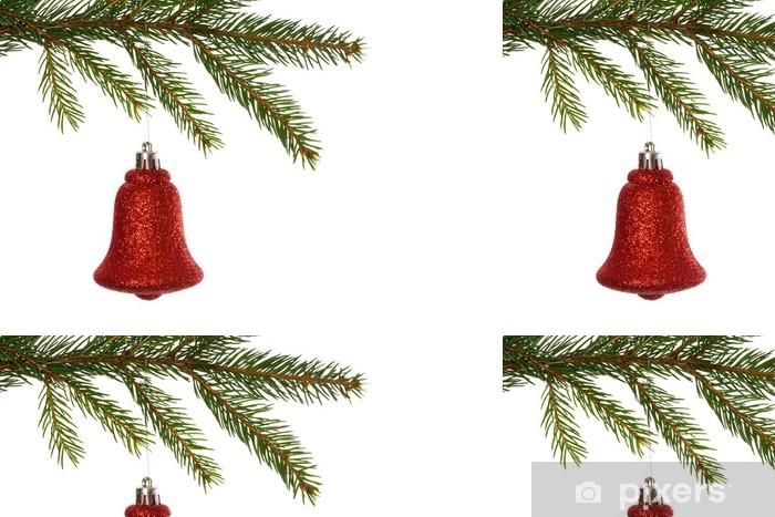 Vinylová Tapeta Červená vánoční dekorace visí z větve - Mezinárodní svátky