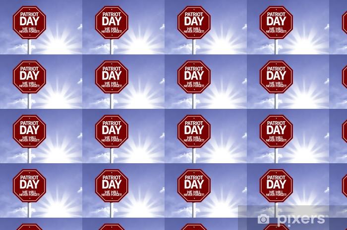 Papier peint vinyle sur mesure Jour Patriot, nous n'oublierons jamais signe rouge avec le soleil fond - Arrière plans