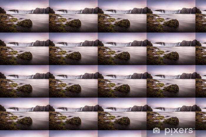 Papier peint vinyle sur mesure Islande, Godafoss au coucher du soleil, belle chute d'eau, longue exposition - Europe