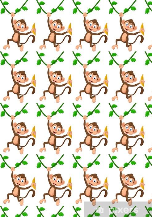 Vinyltapete nach Maß Cartoon monkey hanging - Wandtattoo