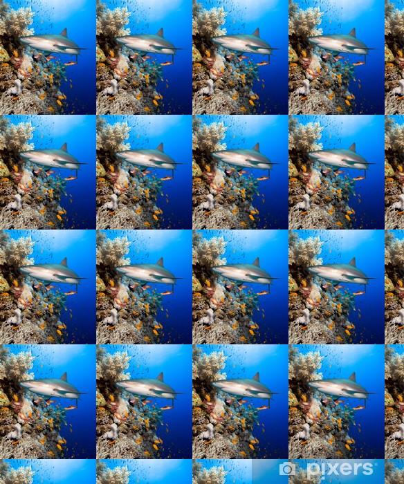 Papel pintado estándar a medida Arrecifes de coral con tiburones - Tiburónes