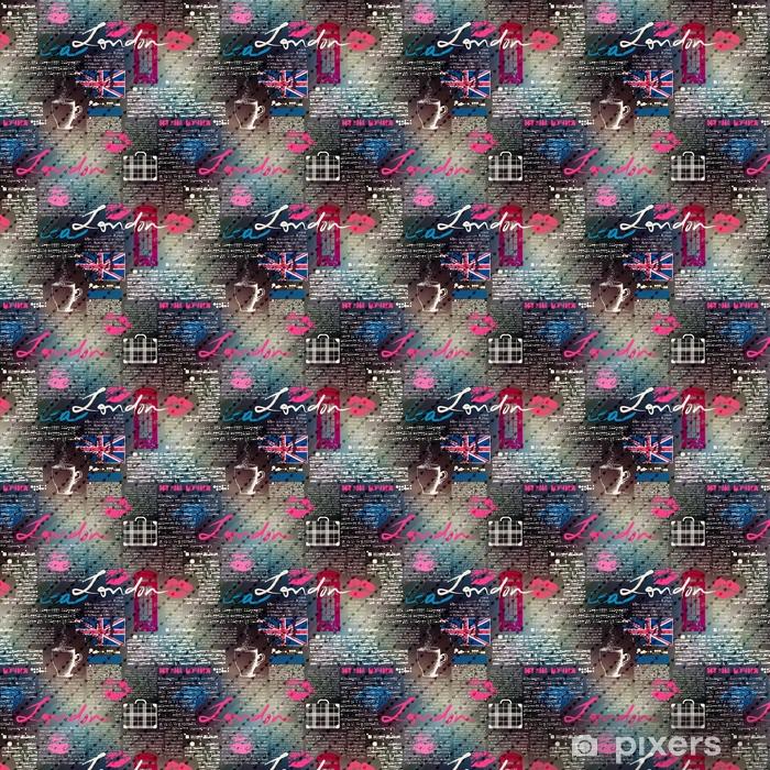 Papel pintado estándar a medida Collage de grunge periódico Londres con gotas de lluvia - Recursos gráficos