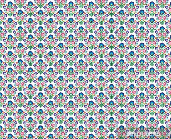 Tapeta na wymiar winylowa Jednolite polski, słowiański folk art kwiatowy wzór - wzory łowickie -