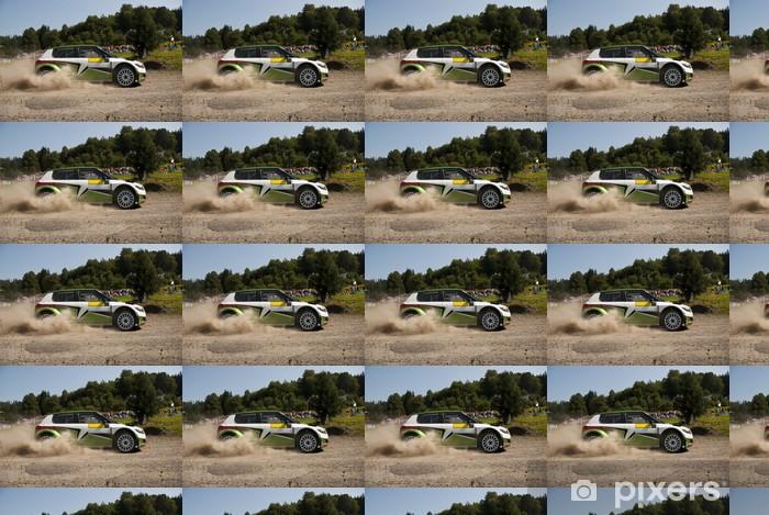 Papier peint vinyle sur mesure Rallye automobile en action - Fabia S2000 - Sports extrêmes
