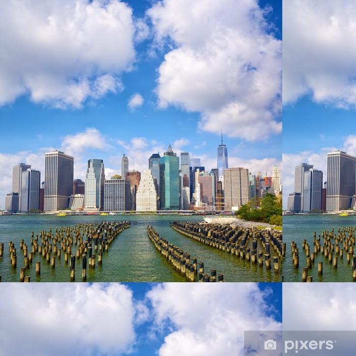 Vinil Duvar Kağıdı Brooklyn Bridge Park, New York görüldüğü Aşağı Manhattan silueti - Amerika kentleri