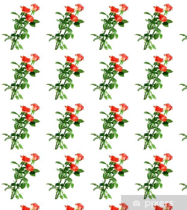 Papier peint vinyle sur mesure Belles roses isolées sur blanc - Fleurs