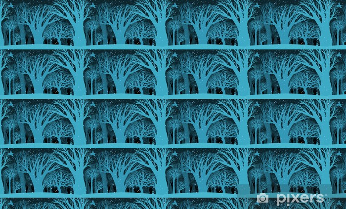 The background image of the mysterious night of the winter fores Vinyl custom-made wallpaper - Seasons