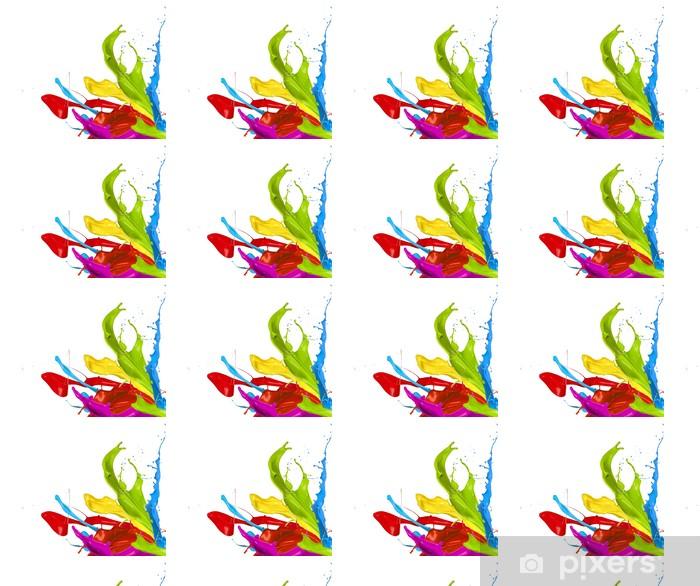 Vinyl behang, op maat gemaakt Gekleurde spatten op witte achtergrond - Abstract