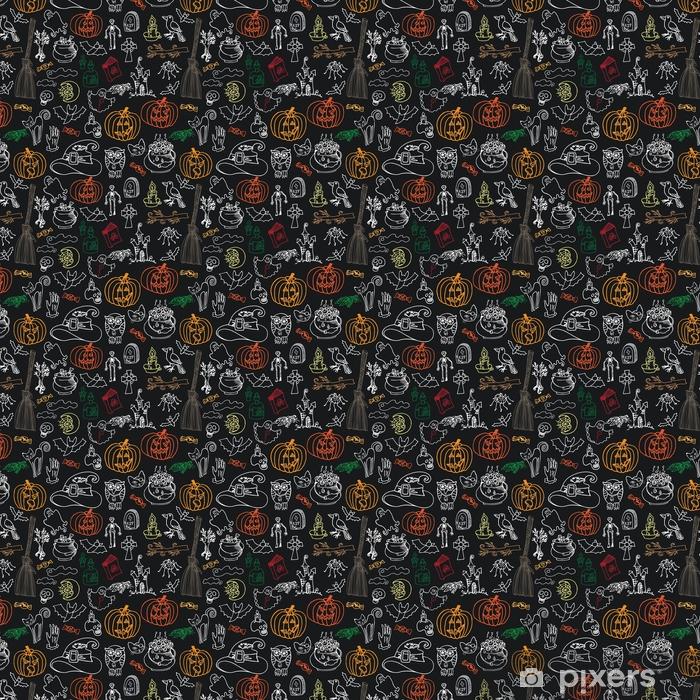 Vinyl behang, op maat gemaakt Halloween pictogrammen naadloze patroon.doodle schetsmatig schoolbord - Religie en Cultuur