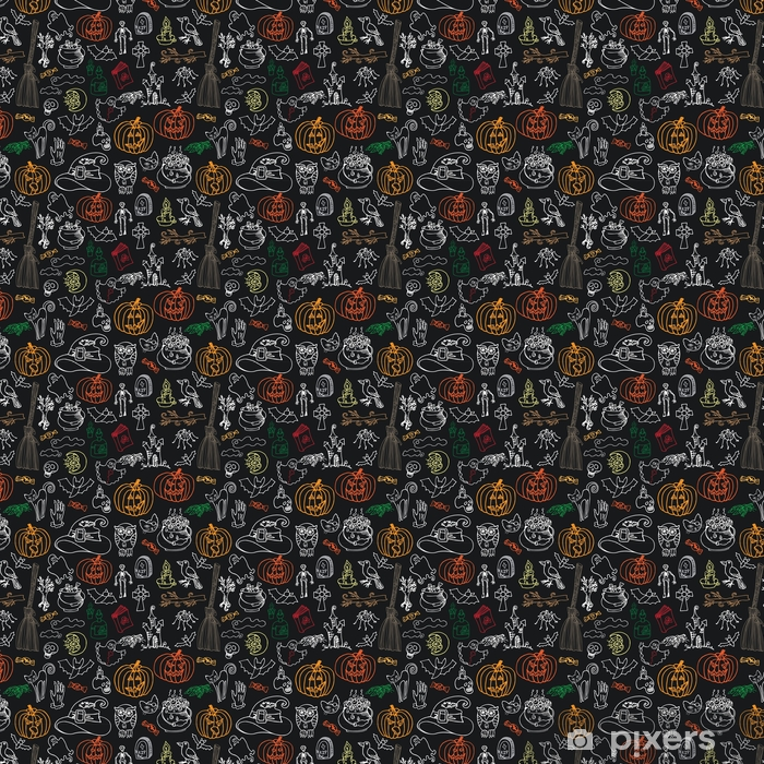 Halloween icons seamless pattern.Doodles sketchy chalkboard Vinyl custom-made wallpaper - Culture and Religion