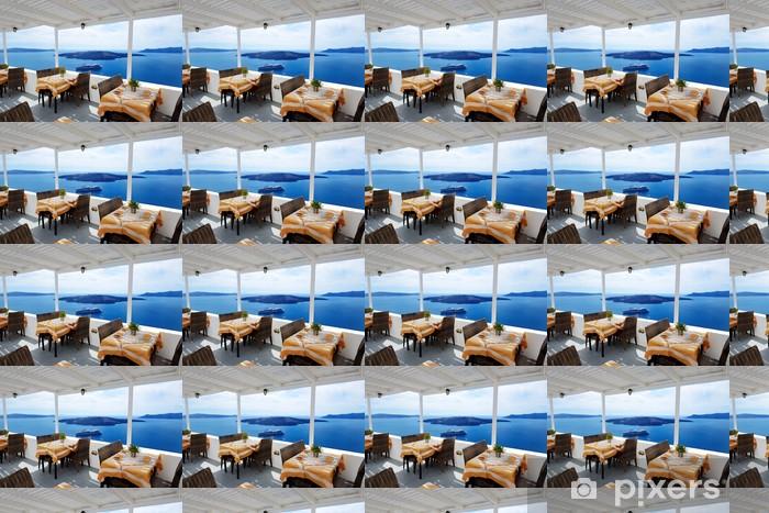 Papier peint vinyle sur mesure La terrasse avec vue sur la mer dans un restaurant à l'hôtel de luxe, Santorin est - Vacances