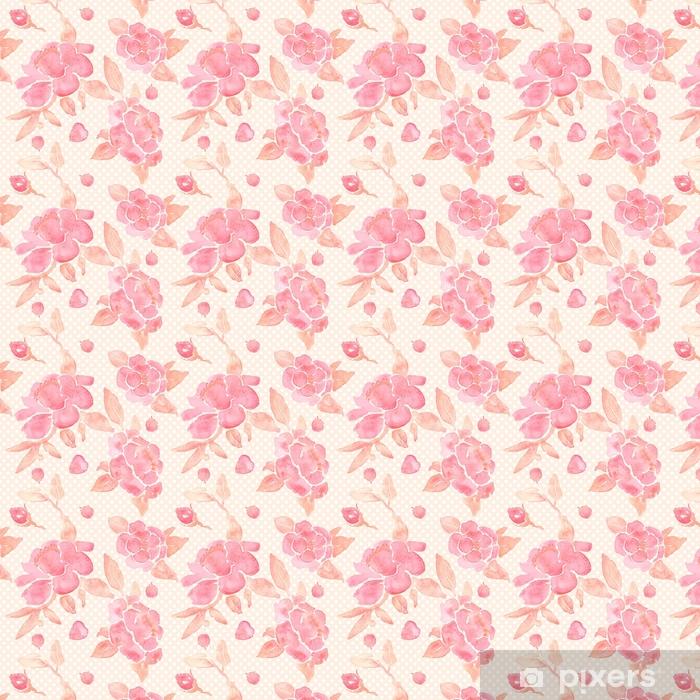Tapeta na wymiar winylowa Akwarela bezszwowe tapeta z kwiatami piwonii w wektorze. - Rośliny i kwiaty