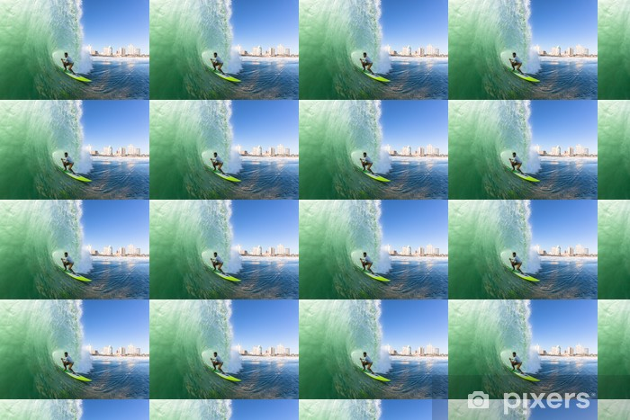 Papier peint vinyle sur mesure Surfer Surfer SUP Tube Vague - Sports individuels