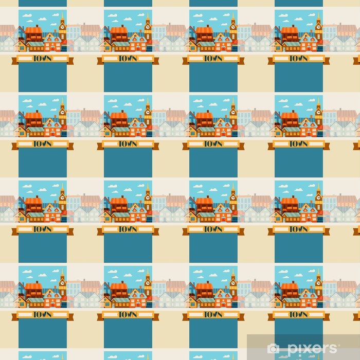 Town background design with cute colorful houses. Vinyl Custom-made Wallpaper - Heavy Industry