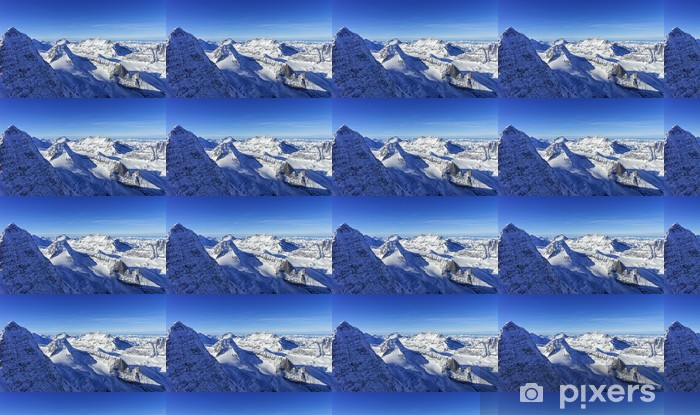 Row of snow peaks in Jungfrau region helicopter view in winter Vinyl custom-made wallpaper - Seasons