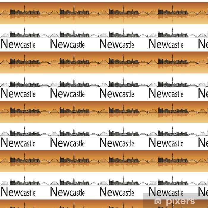 Papier peint vinyle sur mesure Newcastle horizon en fond orange - Europe