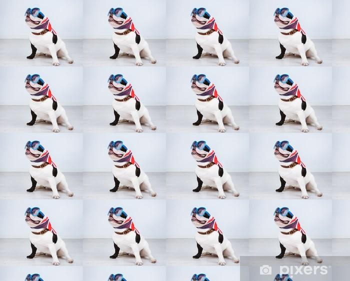 Papel pintado estándar a medida Bulldog francés con gafas de sol en la habitación - Bulldogos francéses
