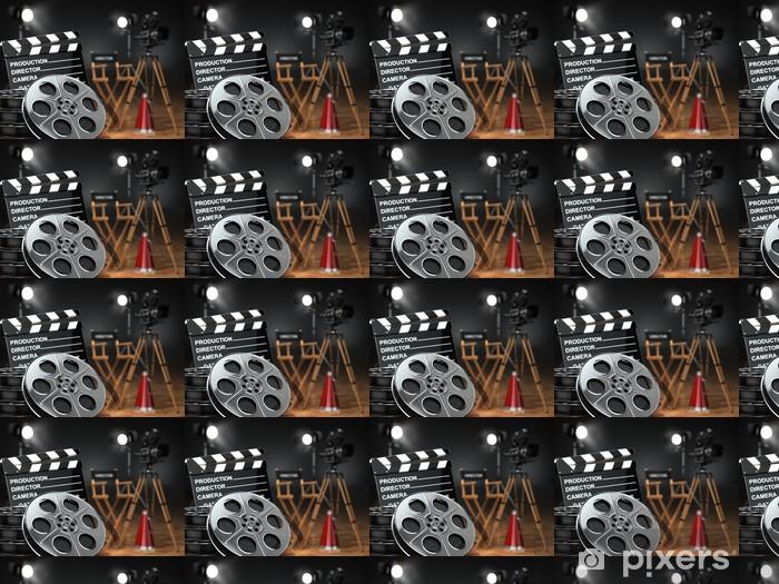 Vinylová tapeta na míru Video, film, kino koncepce. Retro fotoaparát, navijáky, klapka - Témata