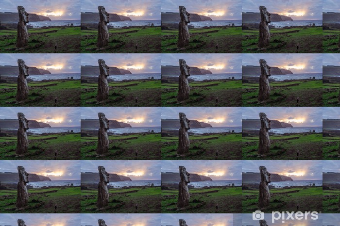 Dawn on Isla de Pascua. Rapa Nui. Easter Island Vinyl Custom-made Wallpaper - America