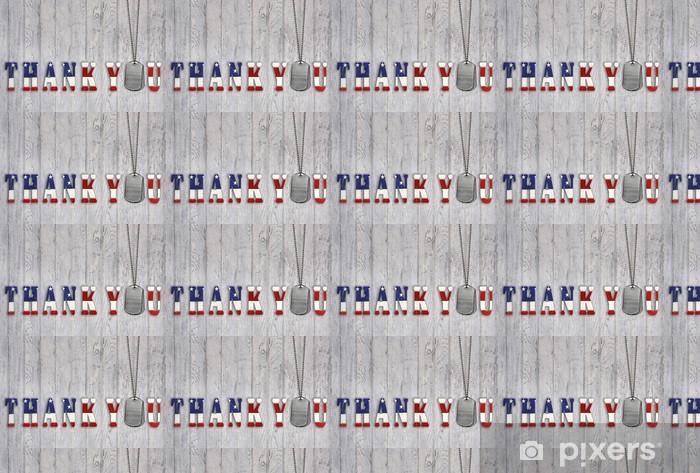 Papier peint vinyle sur mesure Dog tag militaire merci sur bois - Thèmes