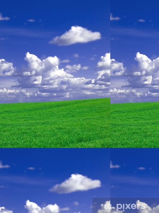 Vinylová Tapeta Zelená pole a přeháňky modrou oblohu - Nebe