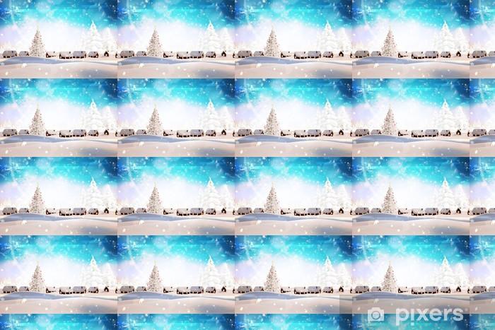 Papier peint vinyle sur mesure Image composite de village couvert de neige - Arrière plans