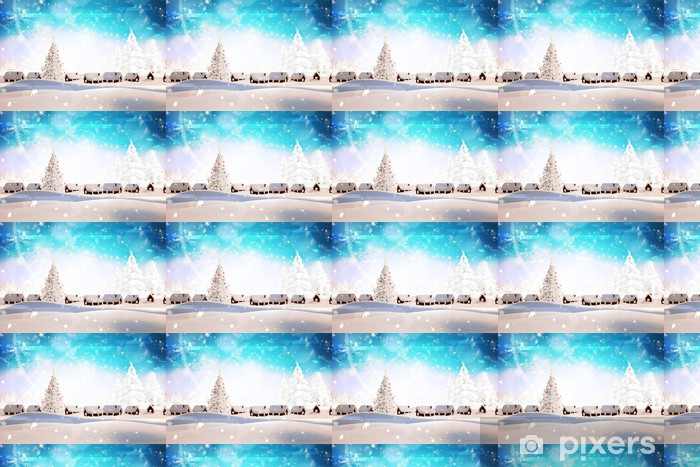 Composite image of snow covered village Vinyl custom-made wallpaper - Backgrounds