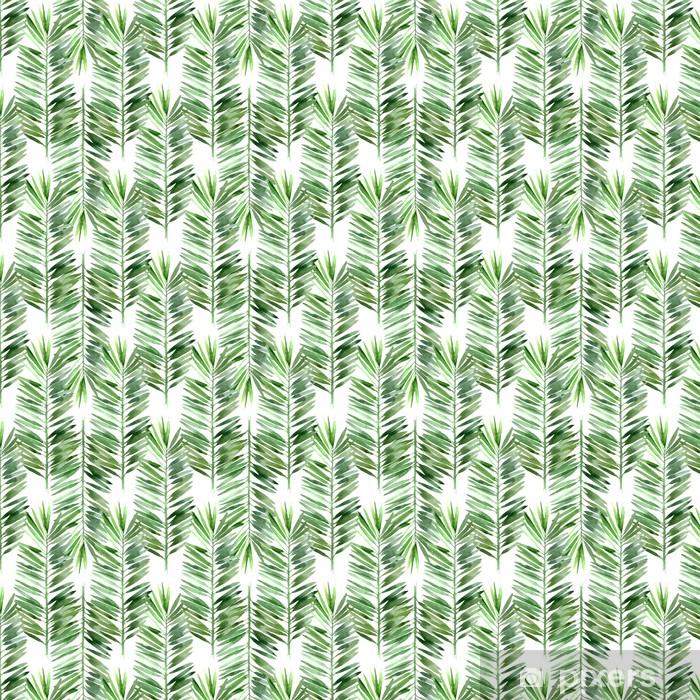 Vinyl behang, op maat gemaakt Aquarel palmblad naadloos - Bloemen en Planten