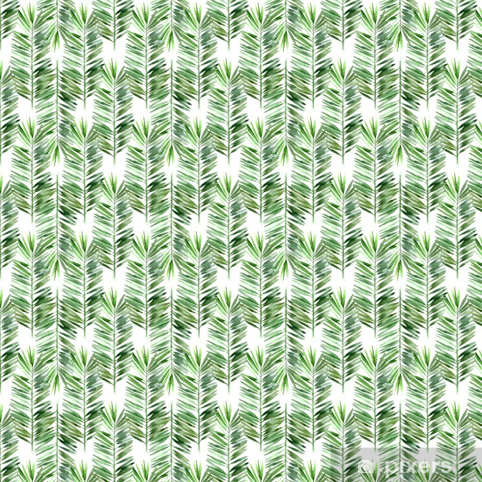 Tapeta na wymiar winylowa Akwarela palma liści bez szwu - Rośliny i kwiaty