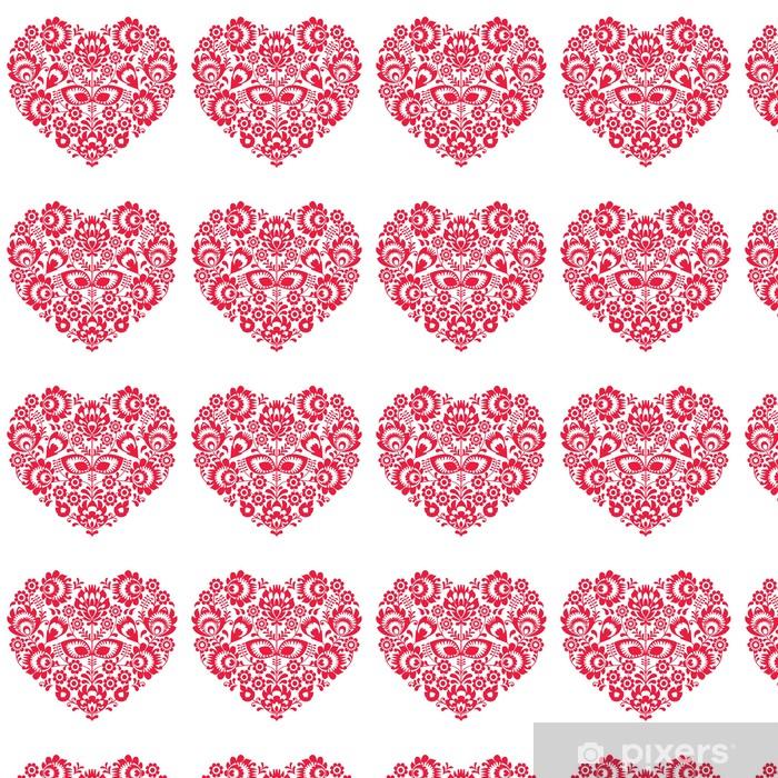 Vinylová tapeta na míru Valentines Day lidového umění červené srdce - Polský vzor - Mezinárodní svátky