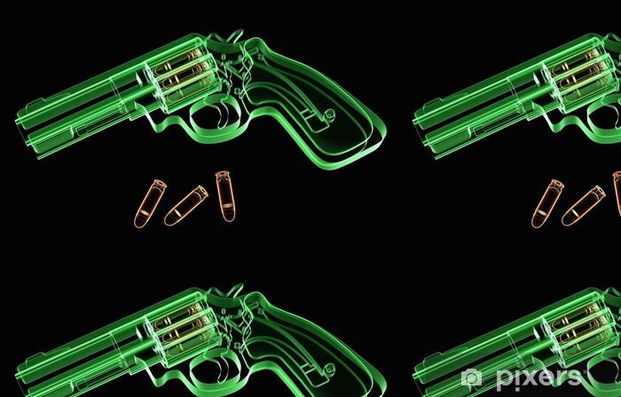 Vinylová Tapeta X-ray obraz z revolveru a střeliva na černém pozadí -