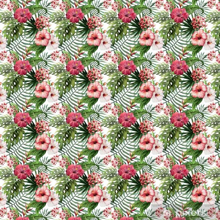 Tapeta na wymiar winylowa Wzór liści hibiskusa orchidei tropików akwarela - Drzewa