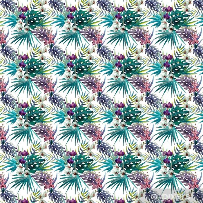 Tapeta na wymiar winylowa Wzór z liśćmi hibiskusa i orchidei, akwarela - iStaging