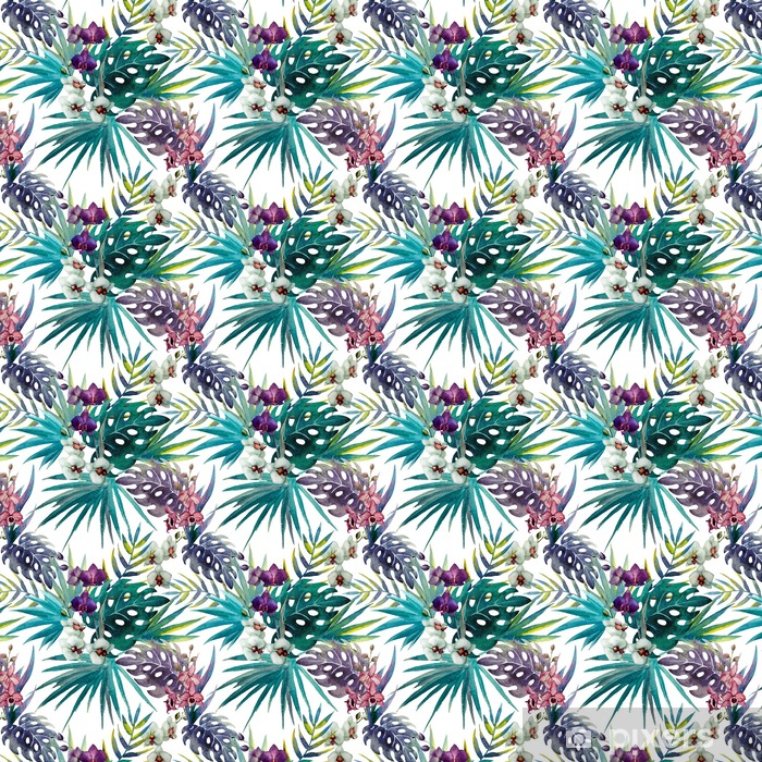 Orchid hibiscus leaves pattern, watercolor Vinyl custom-made wallpaper - iStaging