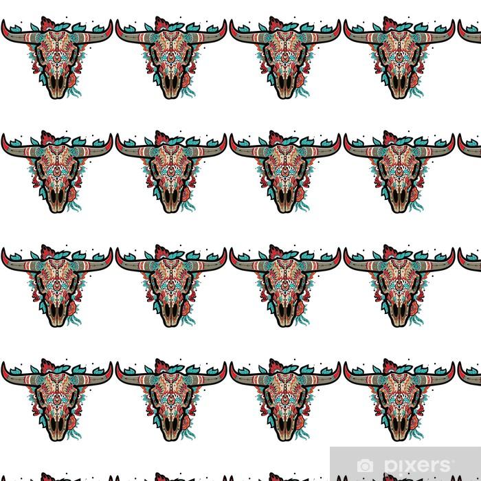 Vinyl behang, op maat gemaakt Buffelsschedel - Zoogdieren