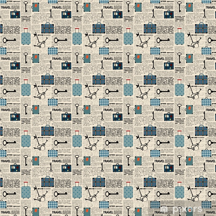 Imitation of newspaper with suitcases and word travel. Vinyl custom-made wallpaper - Graphic Resources