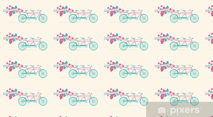 Papier peint vinyle sur mesure Vélo tandem vintage avec des ballons de coeurs - Ensemble pour toujours - Bonheur
