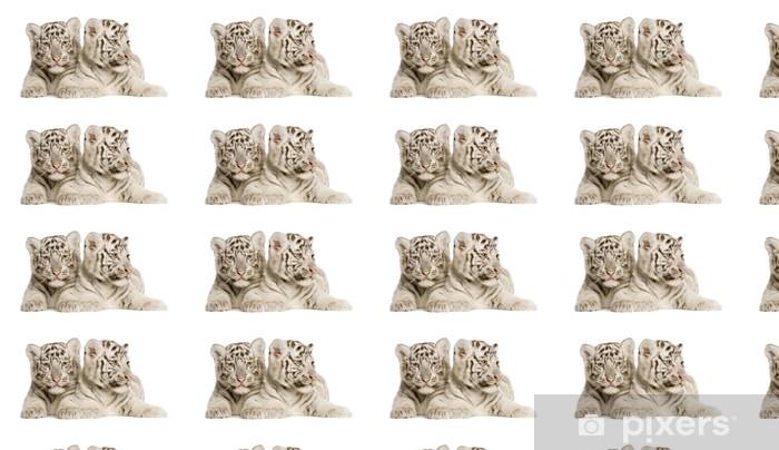 Vinyltapete nach Maß White Tiger cub (2 Monate) - Wandtattoo