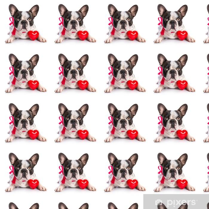 Söpö ranskalainen bulldog punaisella sydämellä eristetty valkoinen Räätälöity vinyylitapetti - Onnellisuus