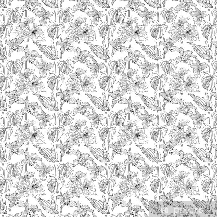 Vinyl behang, op maat gemaakt Naadloze bloemmotief - Grafische Bronnen