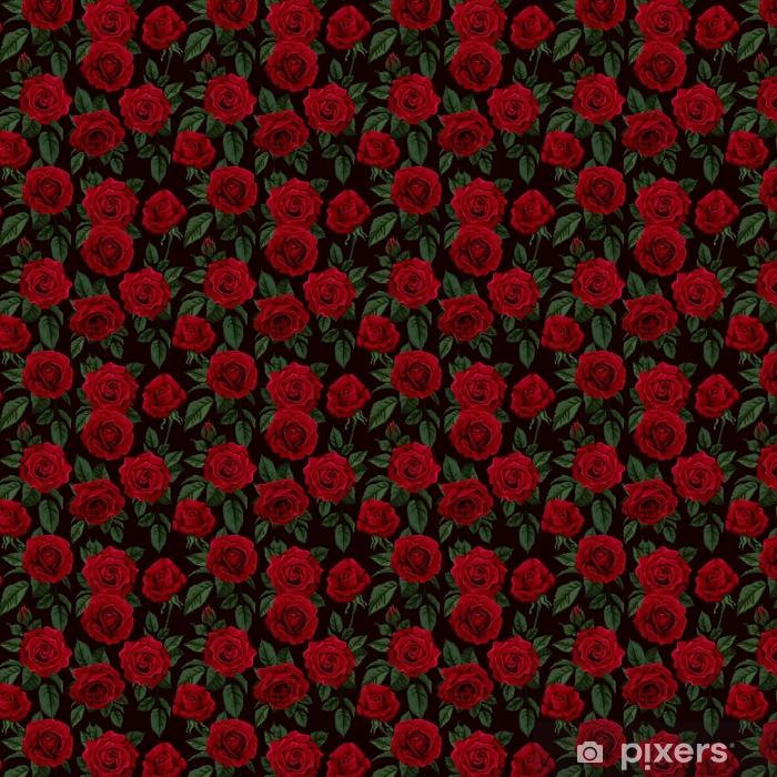 Papel De Parede Padrão Sem Costura Com Rosas Vermelhas Ilustração Vetorial à Sua Medida