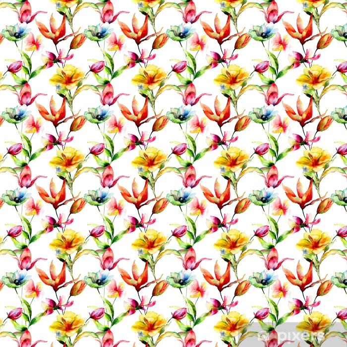 Vinyl behang, op maat gemaakt Naadloos behang met gestileerde bloemen - Bloemen en Planten