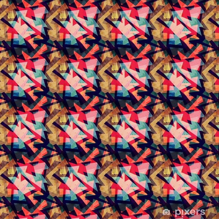 Vinyl behang, op maat gemaakt Grunge, geometrische naadloze patroon - Grafische Bronnen