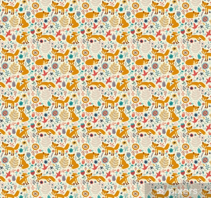 Seamless pattern with a fox Self-adhesive custom-made wallpaper - Graphic Resources