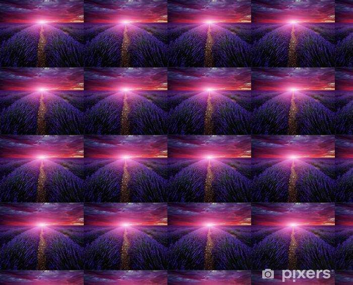 Vinyltapet Vakkert bilde av lavendel felt Sommeren solnedgang landskap -