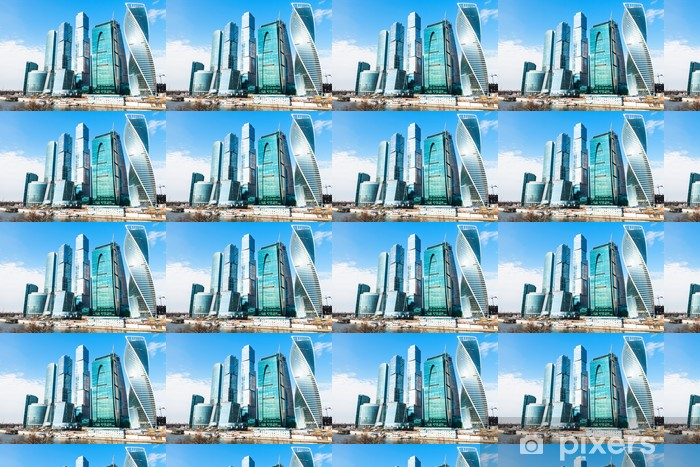 Tapeta na wymiar winylowa Wieże dzielnicy biznesowej Moscow City na wiosnę - Miasta azjatyckie