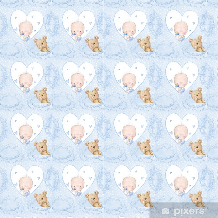 Baby shower greeting card.Baby boy with teddy Vinyl custom-made wallpaper - Lifestyle