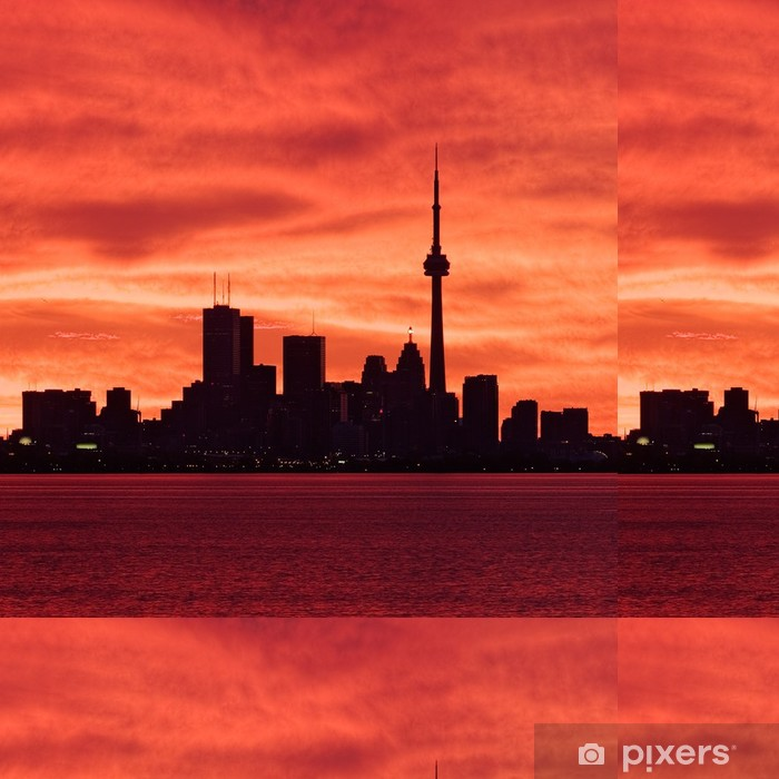 Downtown Toronto waking up to a fiery sky Vinyl Wallpaper - America