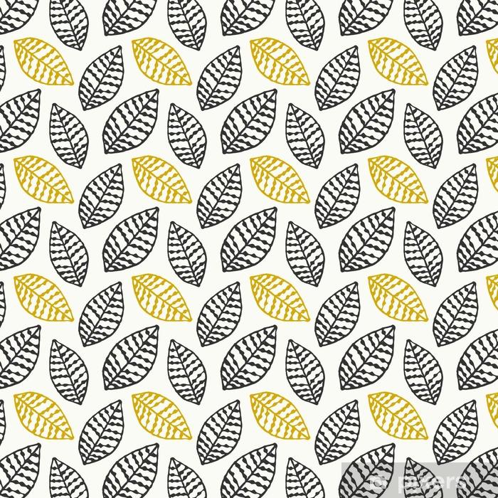 Vinyl behang, op maat gemaakt Hand getrokken bladeren naadloze patroon - Grafische Bronnen