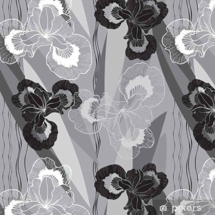 Vinylová Tapeta Bezešvý monochromatický vzor s duhovkami. - Rostliny a květiny